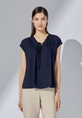 CRINKLE TOP WITH DRAWSTRING FRONT DETAIL - NAVY
